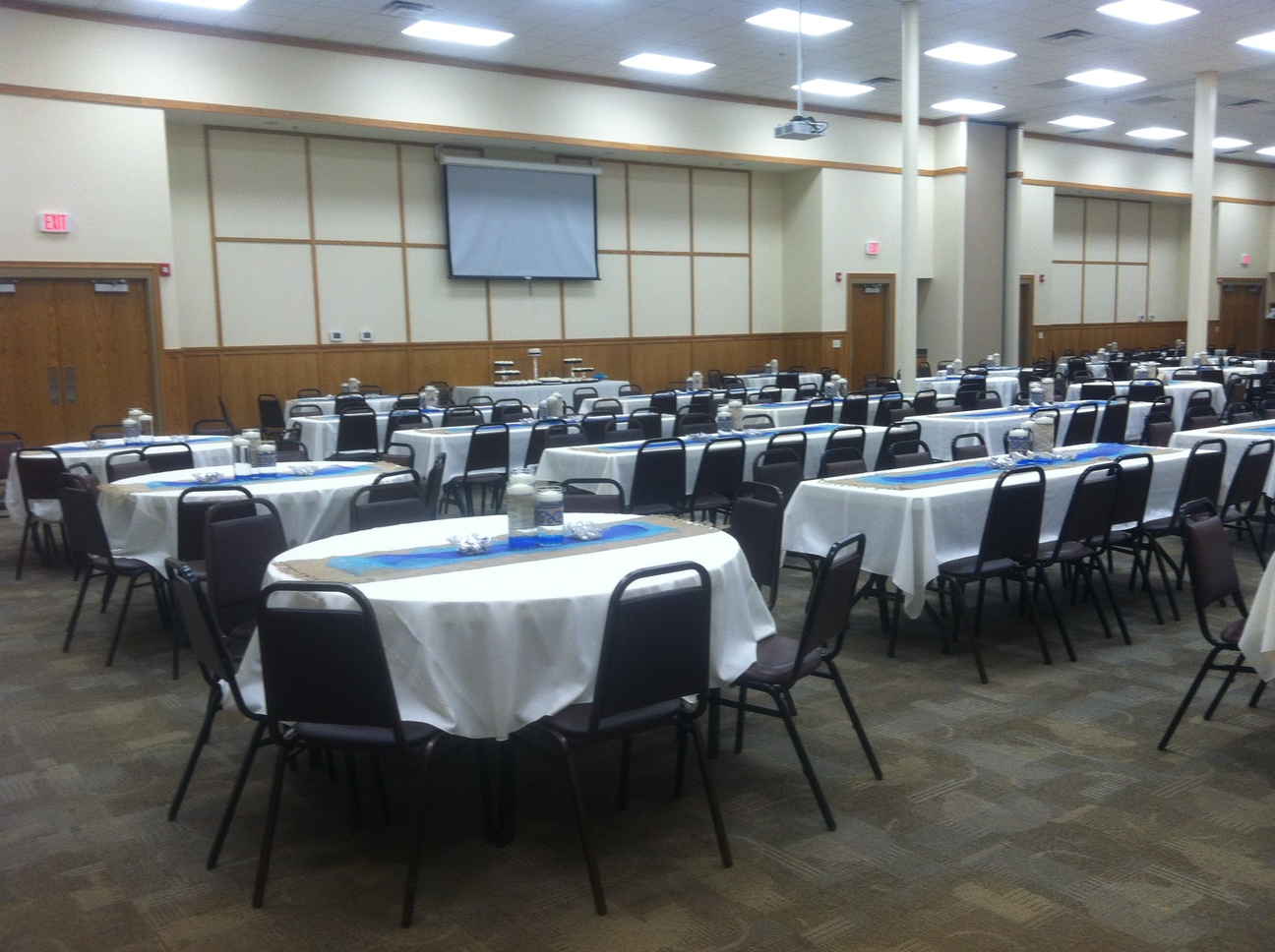 Event Room with White Table Linens